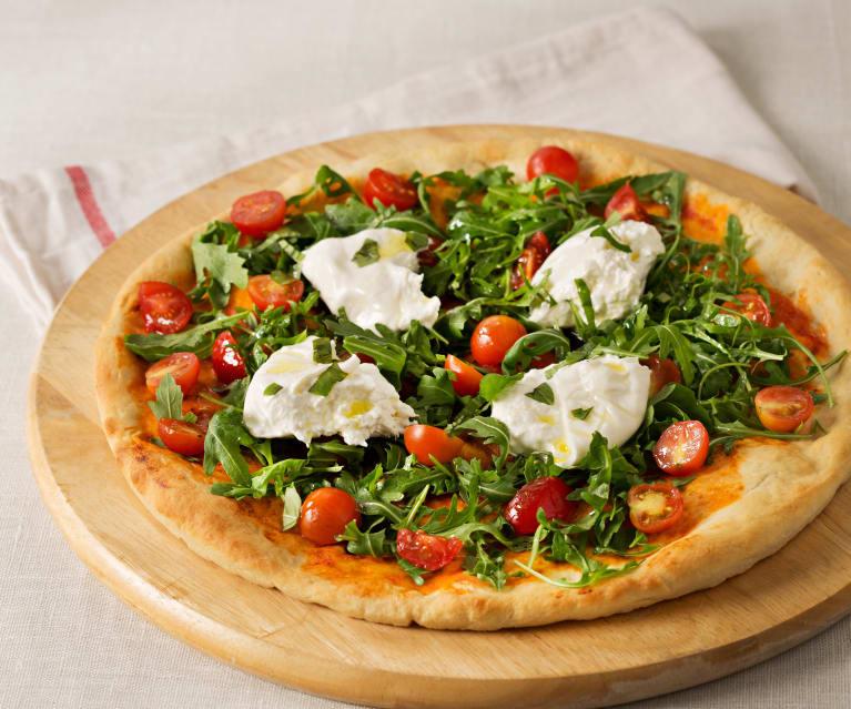 Pizza de mozzarella i tomàquet fresc